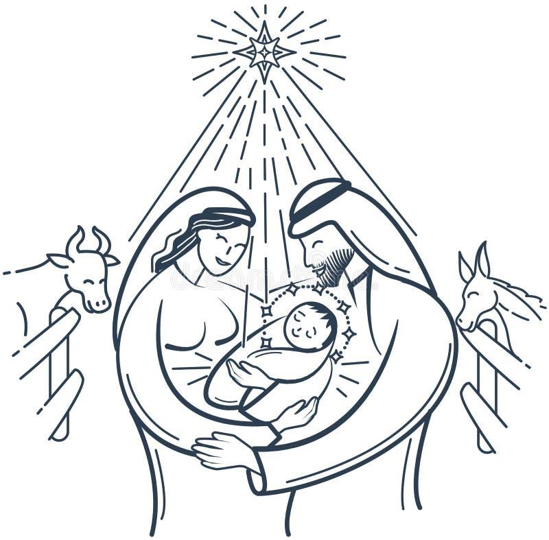 Escena de la biblia la natividad de la Navidad de Jesús stock de ilustración