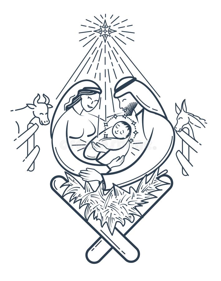 Escena de la biblia la natividad negra stock de ilustración