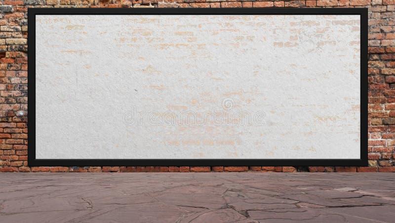Escena de la calle con la pared de ladrillo y la cartelera rojas stock de ilustración