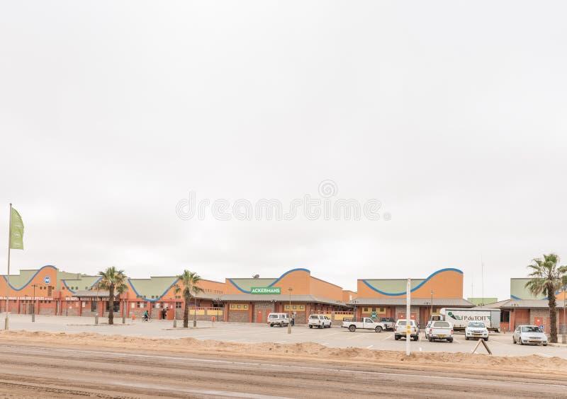 Escena de la calle con un centro comercial en la bahía de Henties fotos de archivo libres de regalías