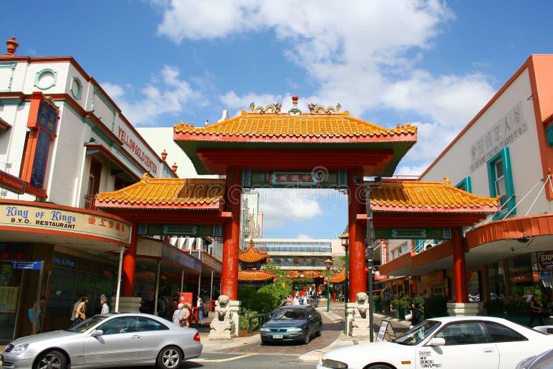 Escena de la calle de la ciudad de China de la ciudad de Brisbane fotografía de archivo