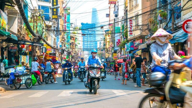 Escena de la calle de la vida de cada día en Ho Chi Minh City fotografía de archivo libre de regalías
