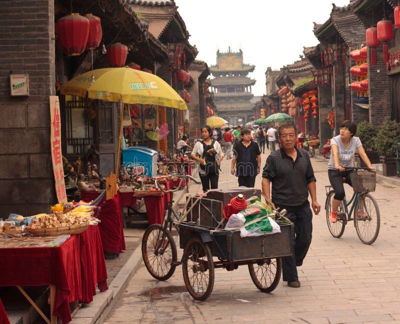 Escena de la calle de Pingyao fotografía de archivo