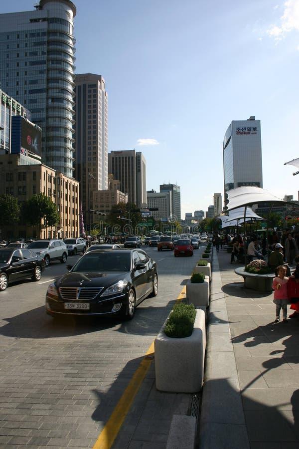 Escena de la calle de Seul, Corea del Sur fotos de archivo