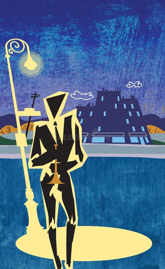 Escena de la calle del claxon del jazz libre illustration