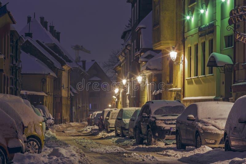 Escena de la calle del invierno de la noche fotografía de archivo