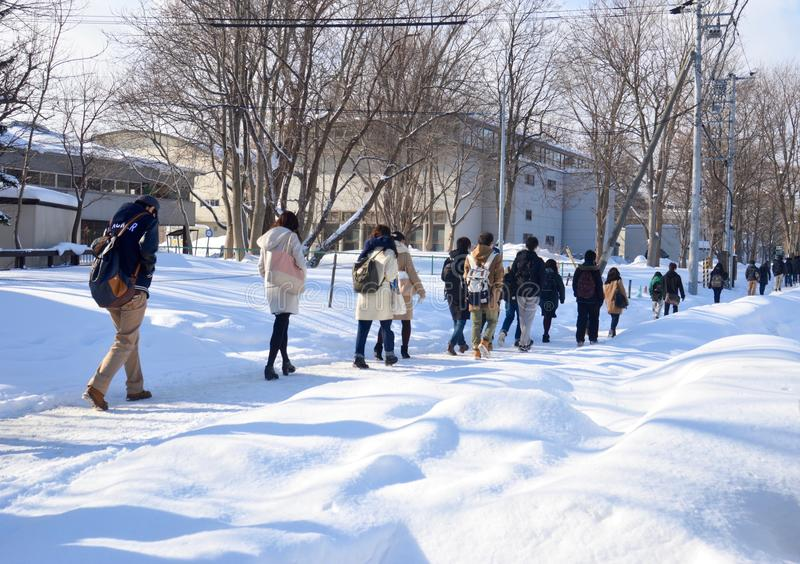 Escena de la calle del invierno que camina en nieve fotos de archivo libres de regalías