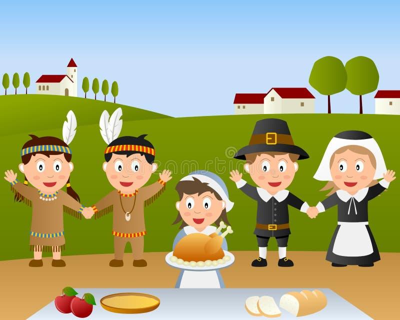 Escena de la cena del día de la acción de gracias ilustración del vector
