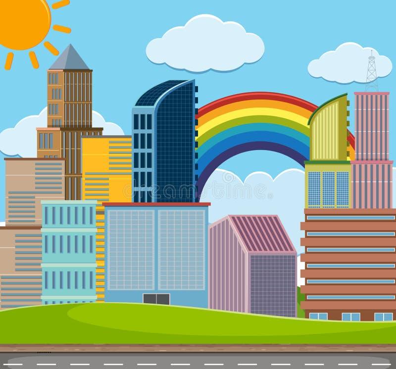 Escena de la ciudad con muchos edificios ilustración del vector