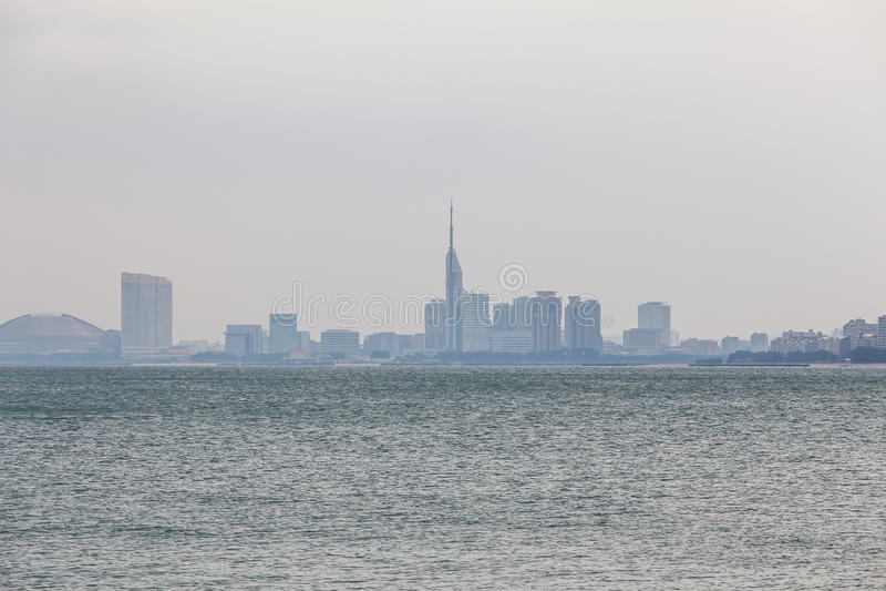 Escena de la ciudad de Fukuoka en Japón fotografía de archivo libre de regalías