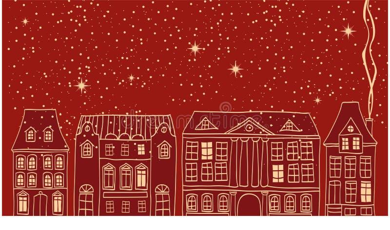 Escena de la ciudad de la Navidad stock de ilustración