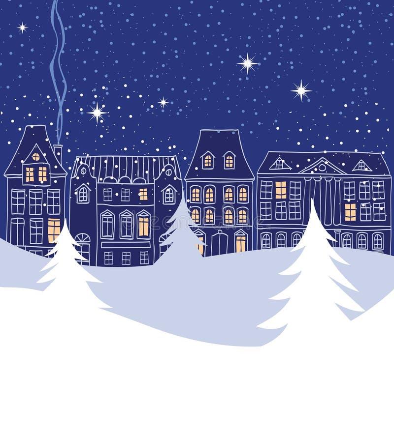 Escena de la ciudad del invierno con las siluetas pasadas de moda de las casas stock de ilustración