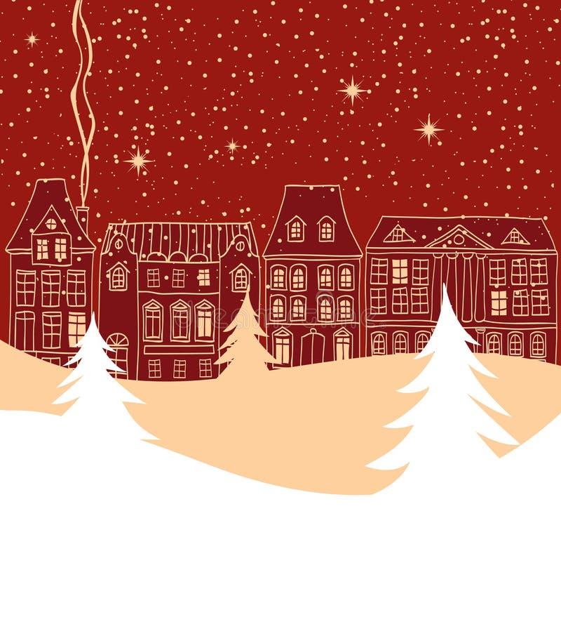 Escena de la ciudad del invierno con las siluetas pasadas de moda de las casas ilustración del vector