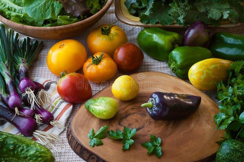 Escena de la cocina apenas de comidas estupendas lavadas incluyendo el pepino, cebollas púrpuras, verdes mezclados, los tomates,  fotos de archivo