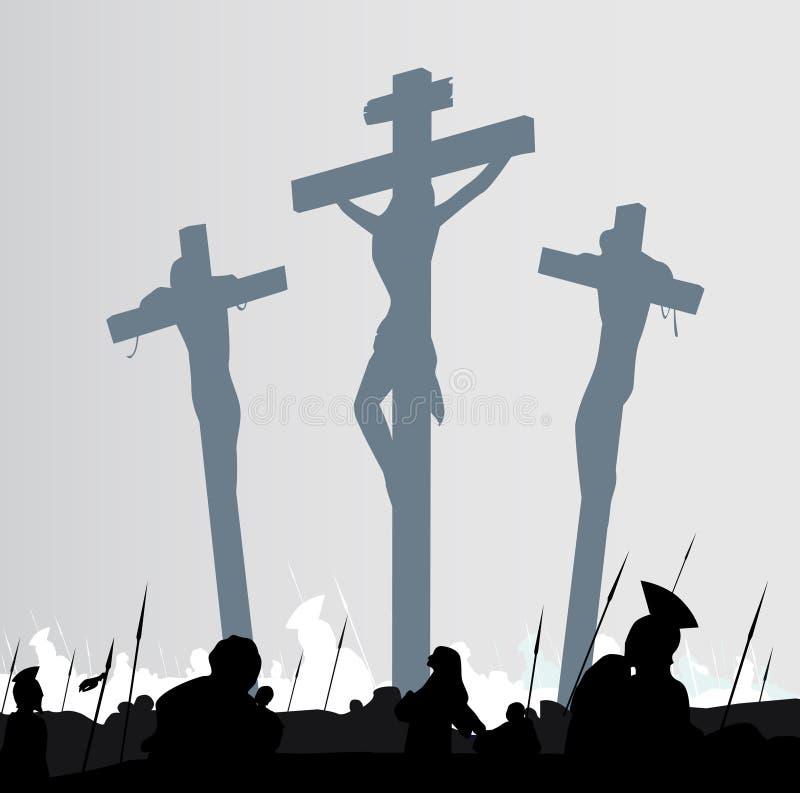 Escena de la crucifixión stock de ilustración