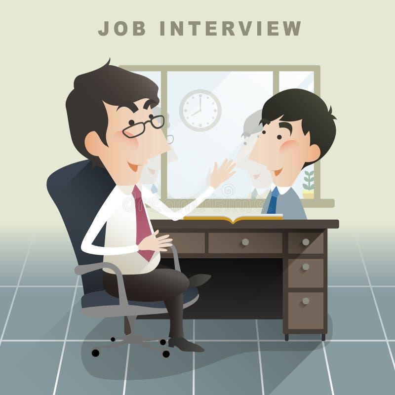 Escena de la entrevista de trabajo en diseño plano libre illustration