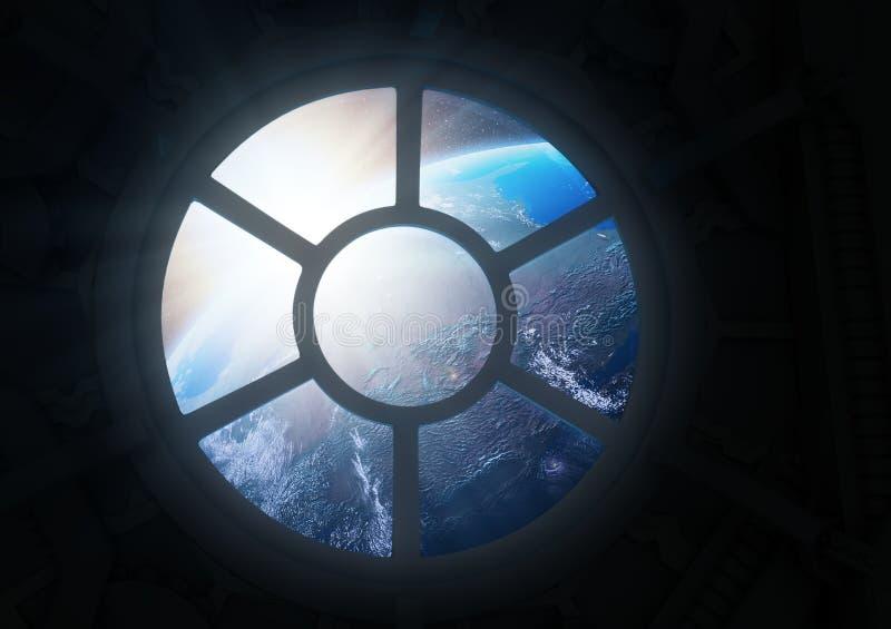 Escena de la estación espacial Porthole libre illustration