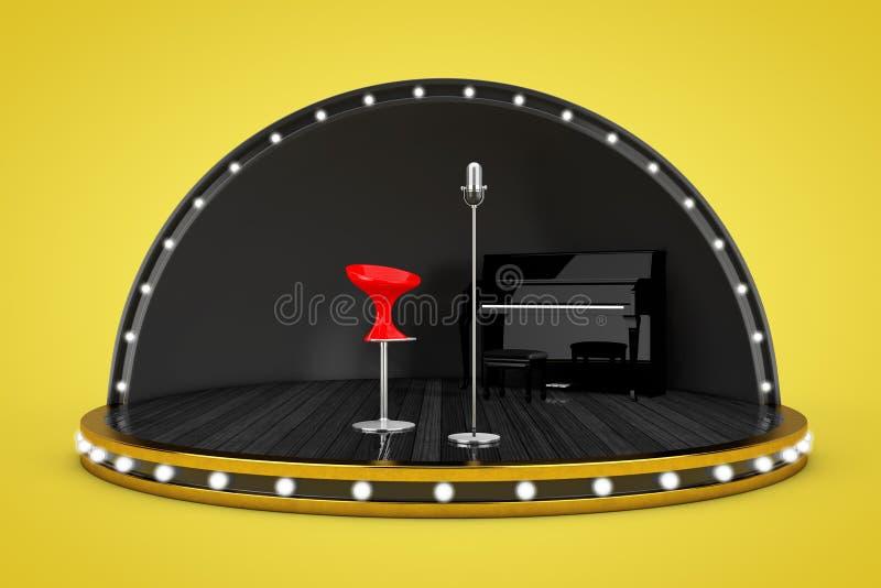 Escena de la etapa con las luces y piano, micrófono y cantante Chair fotos de archivo libres de regalías