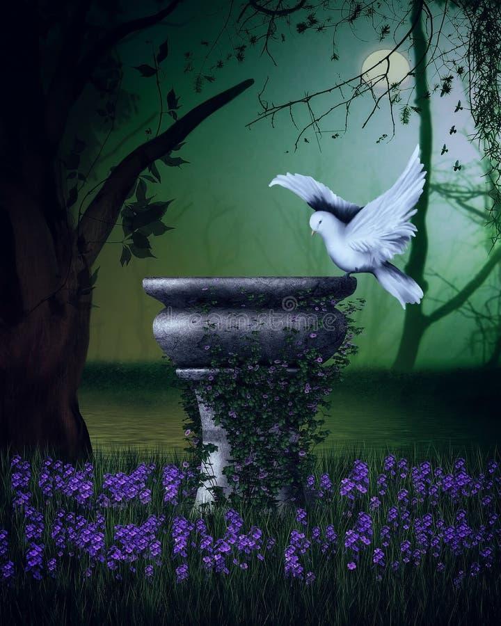 Escena de la fantasía con la paloma stock de ilustración