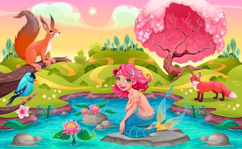 Escena de la fantasía con la sirena y los animales stock de ilustración