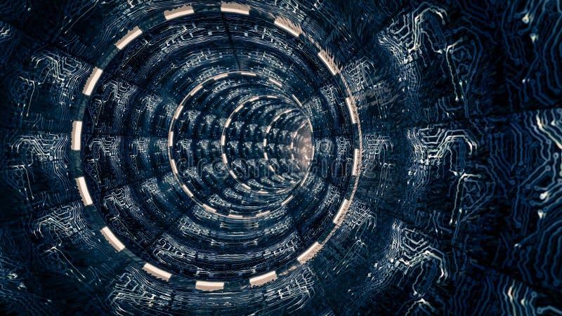Escena de la fantasía del túnel artificial del espacio Tema de la ciencia ficción, ilustración del vector