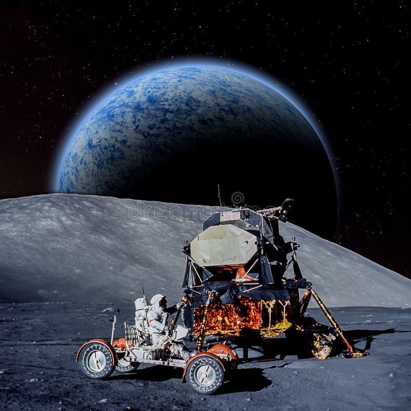 Escena de la fantasía de un astronauta en un planeta extranjero ilustración del vector
