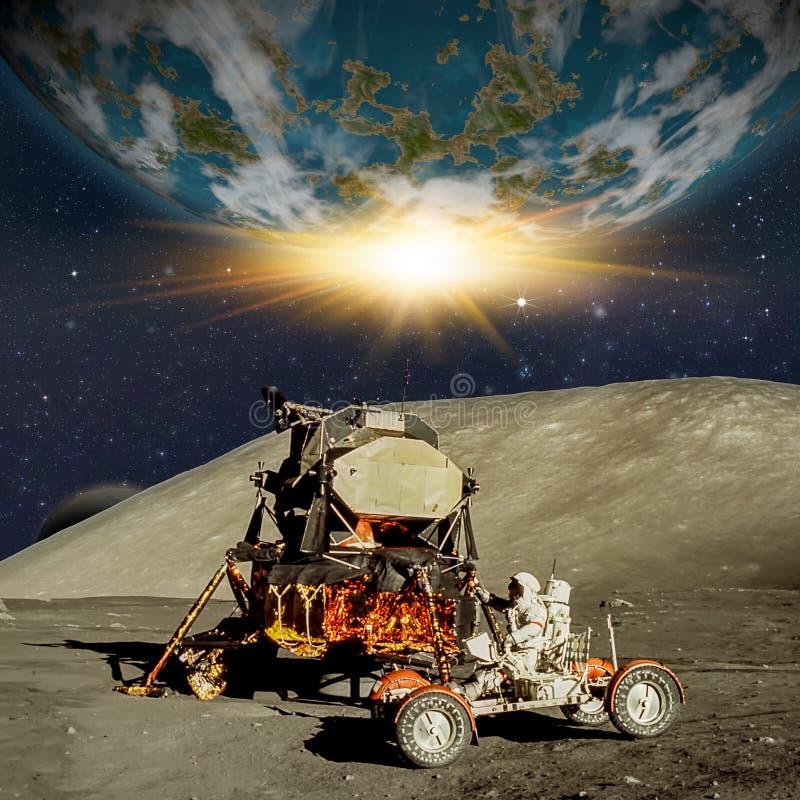 Escena de la fantasía de un astronauta en un planeta o una luna extranjero stock de ilustración