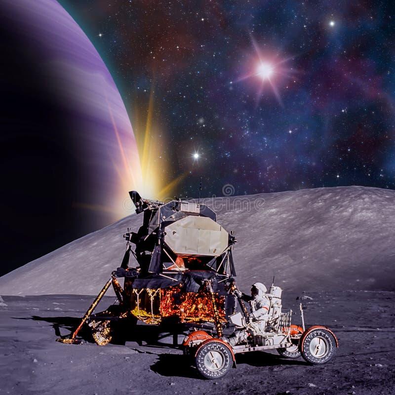 Escena de la fantasía de un astronauta en una luna extranjera libre illustration