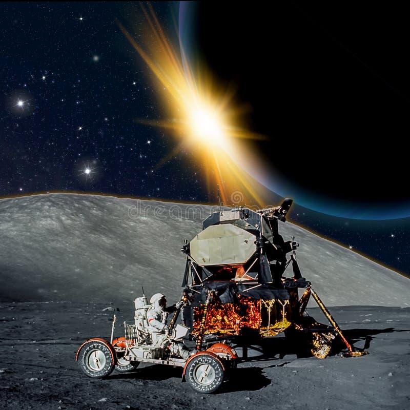 Escena de la fantasía de un astronauta en una luna extranjera ilustración del vector