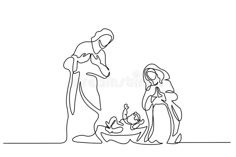 Escena de la Feliz Navidad de la familia santa Vector stock de ilustración