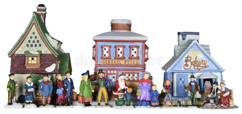 Escena de la gente del pueblo de la Navidad del invierno aislada foto de archivo