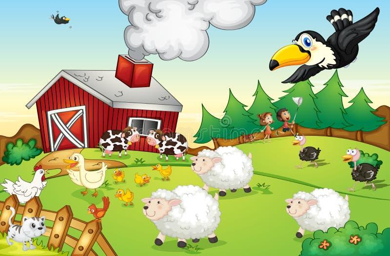 Escena de la granja stock de ilustración