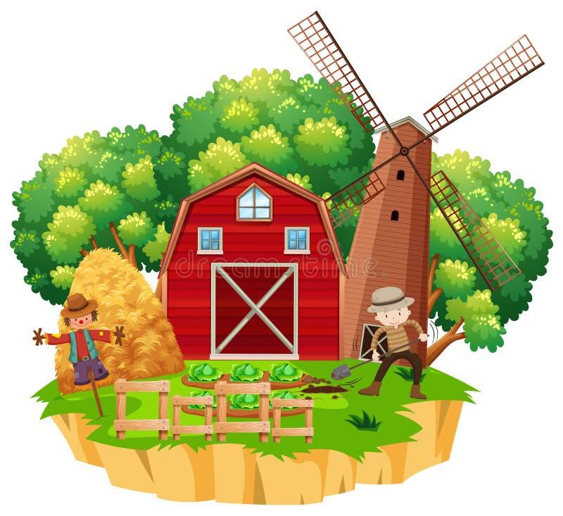 Escena de la granja con el granjero que planta verduras stock de ilustración