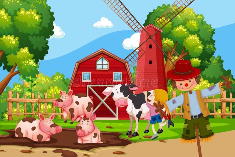 Escena de la granja con los animales stock de ilustración