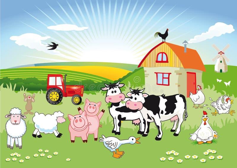 Escena de la granja de la historieta ilustración del vector