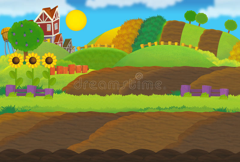 Escena de la granja de la historieta - vacie - para diverso uso stock de ilustración