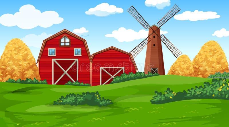 Escena de la granja en naturaleza con el granero ilustración del vector