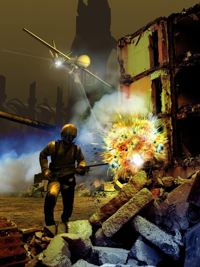 Escena de la guerra ilustración del vector