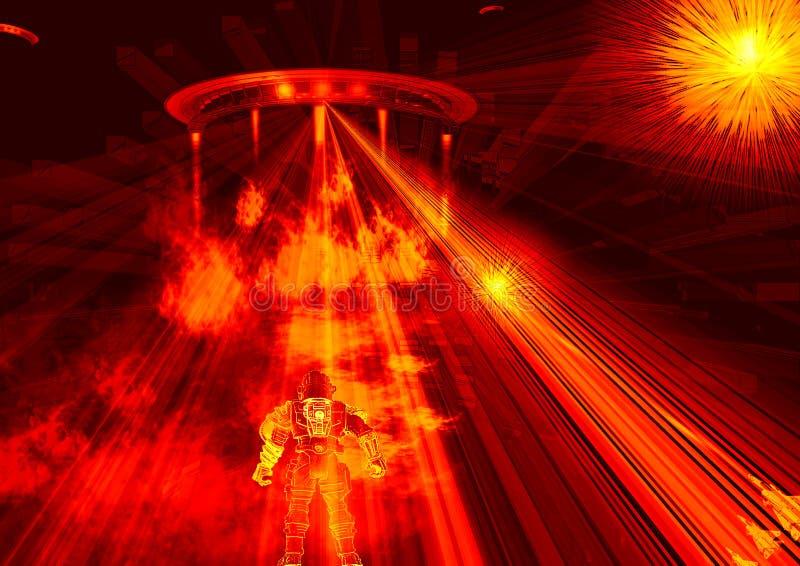 Escena de la guerra de la ciencia ficción stock de ilustración