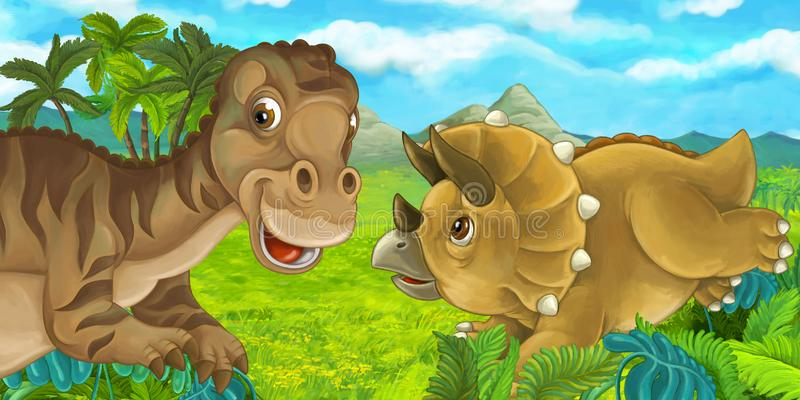 Escena de la historieta con diversos dinosaurios que se divierten junto - mayasauria y triceratops libre illustration