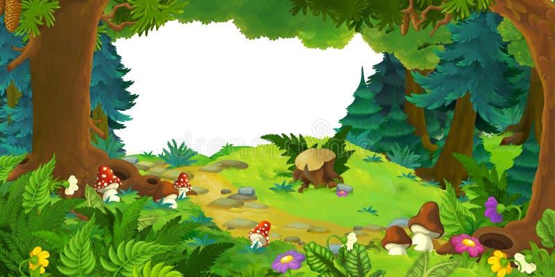 Escena de la historieta con el bosque hermoso y el prado con el marco para el texto libre illustration
