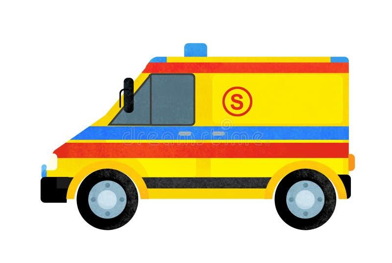 Escena de la historieta con el coche del camión de la ambulancia en el fondo blanco imagen de archivo libre de regalías