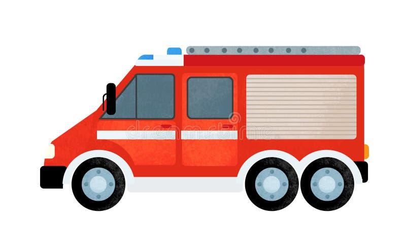 Escena de la historieta con el coche del camión del bombero en el fondo blanco foto de archivo