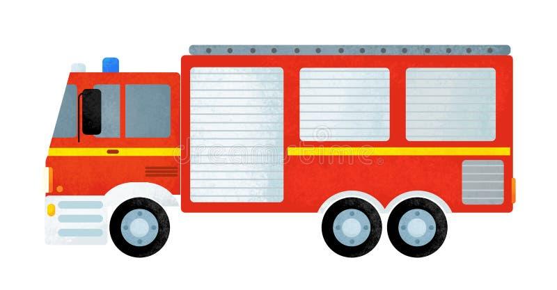 Escena de la historieta con el coche del camión del bombero en el fondo blanco fotografía de archivo libre de regalías