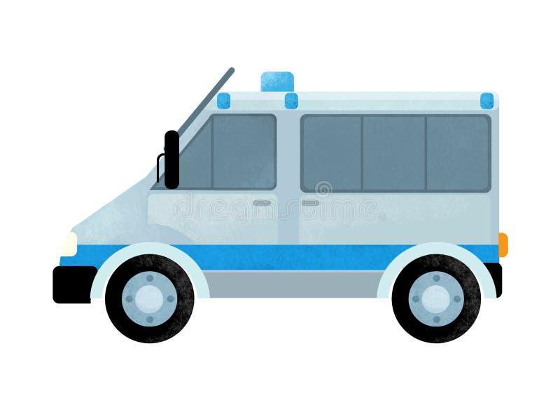 Escena de la historieta con el coche del camión de la policía en el fondo blanco fotografía de archivo