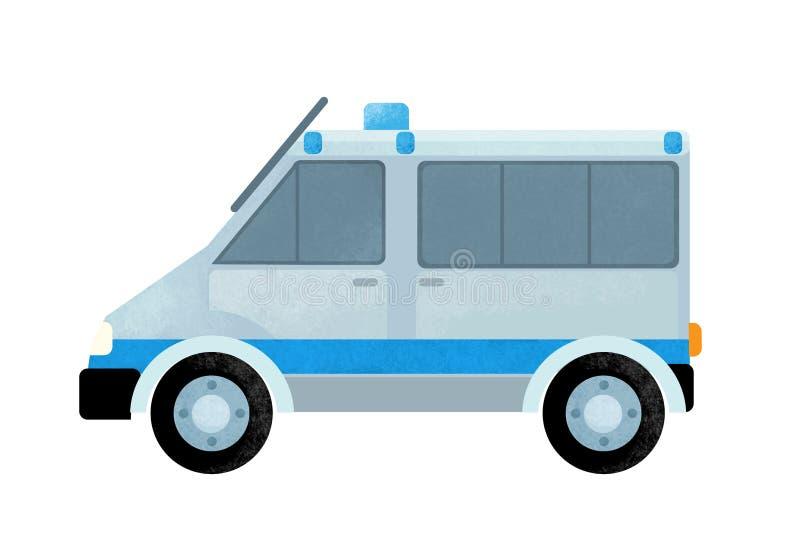 Escena de la historieta con el coche del camión de la policía en el fondo blanco imagenes de archivo