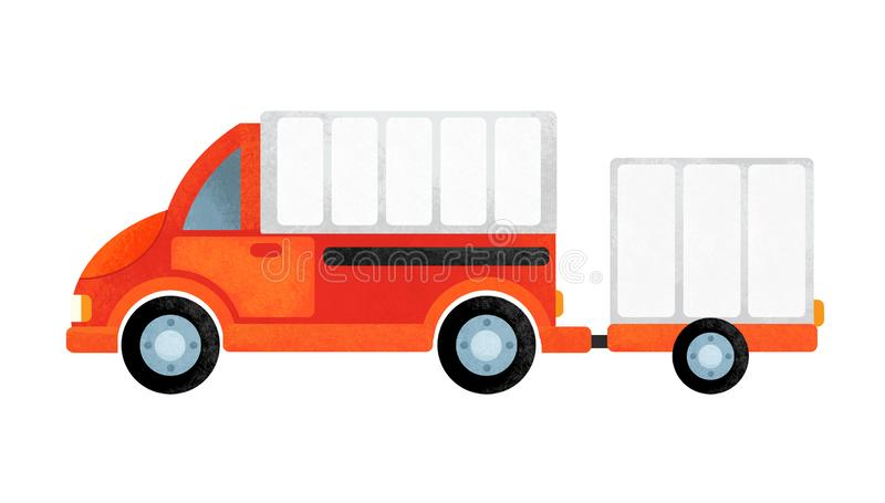 Escena de la historieta con el coche diario en el fondo blanco imagen de archivo libre de regalías