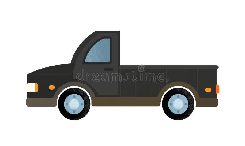 Escena de la historieta con el coche diario en el fondo blanco imagen de archivo