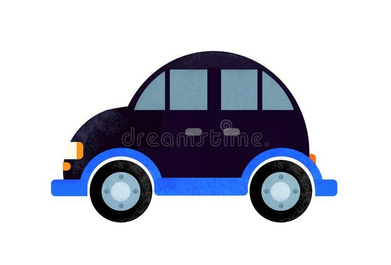 Escena de la historieta con el coche diario en el fondo blanco fotografía de archivo libre de regalías