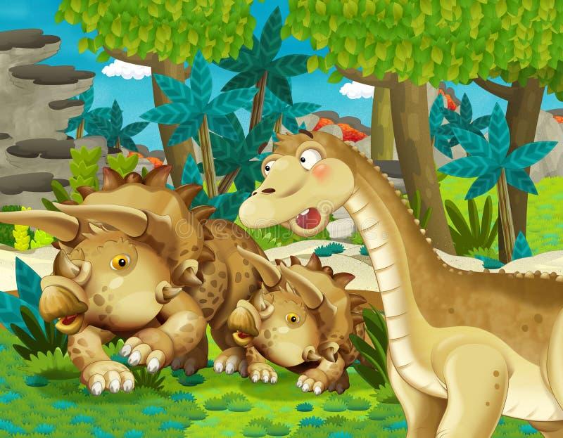 Escena de la historieta con el diplodocus del apatosaurus del dinosaurio con algún otro dinosaurio en el triceratops de la selva  libre illustration
